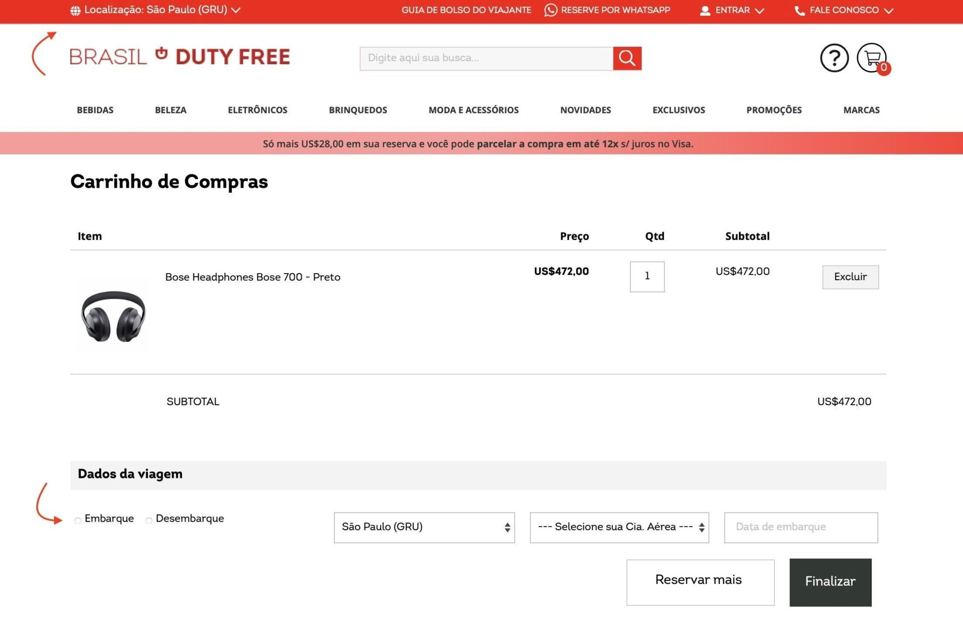 Duty Free retirar produtos