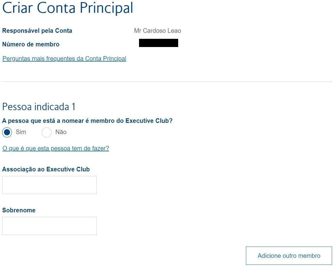 tela conta familia executive club british airways