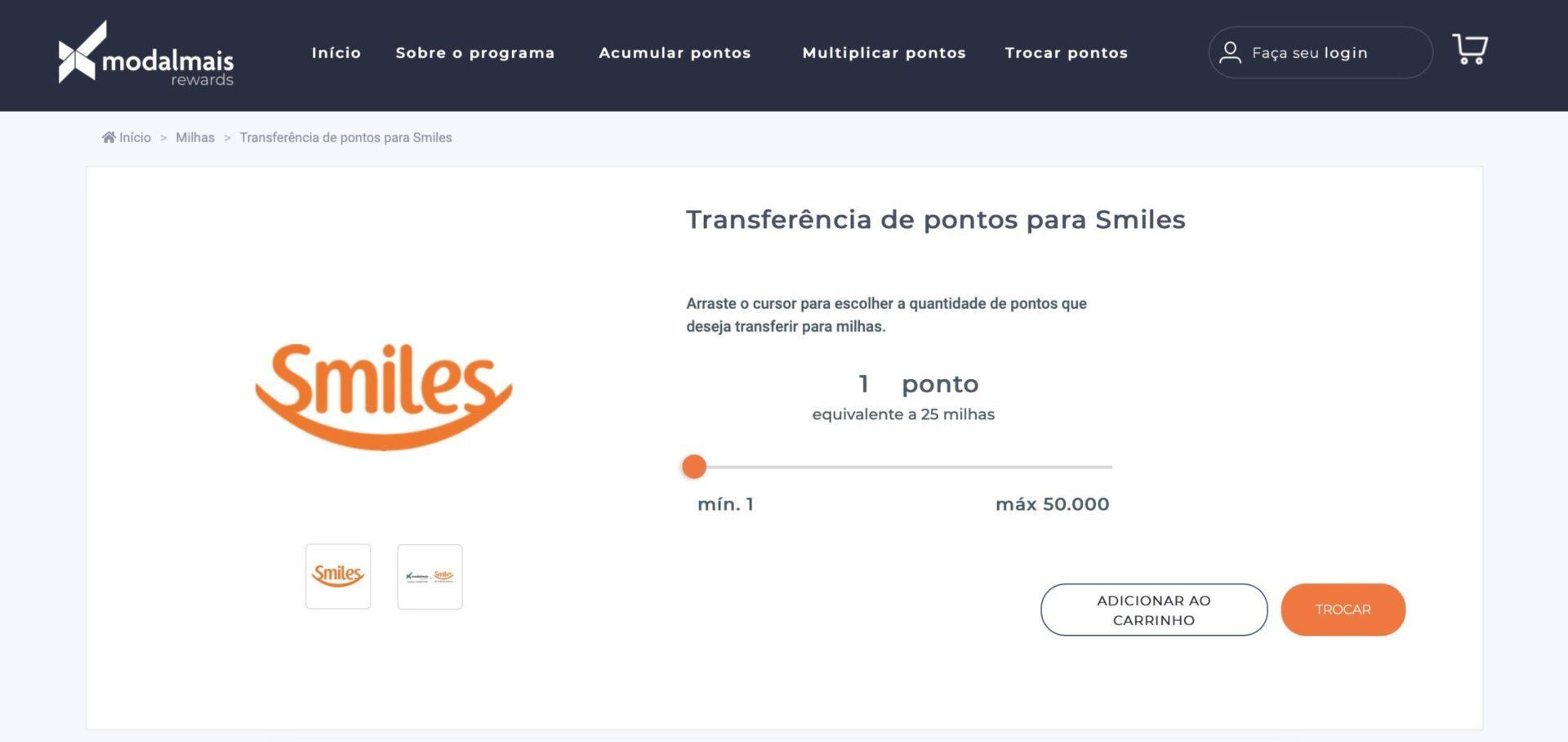 Smiles 200% bônus modalmais