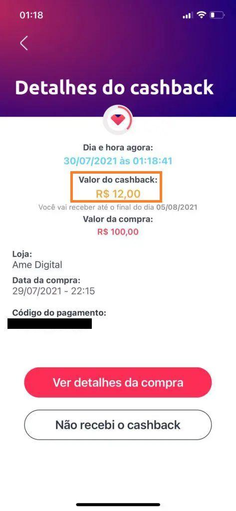ame cashback 12% Petrobras